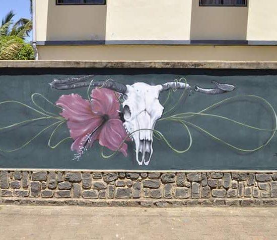 vanité à l'hibiscus. Diego suarez - Abeil - Street art Reunion 974