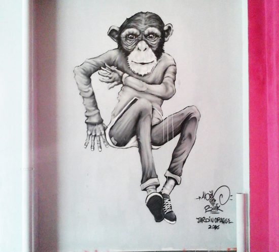 Graffiti Monkey b.boy - Abeil - Street art Ile de la Réunion 974