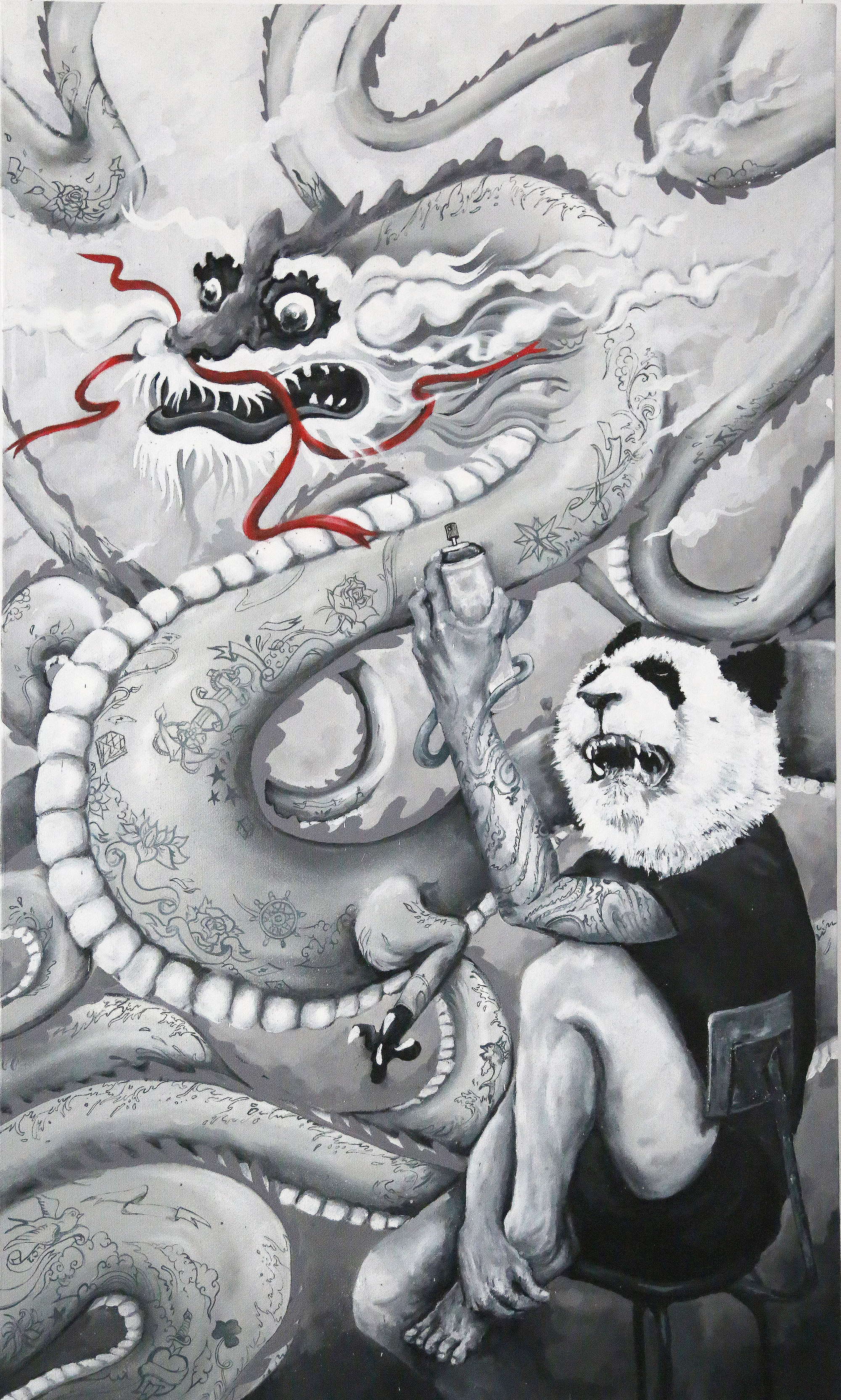 panda and dragon - Abeil - Jardin Orange - Street art 974