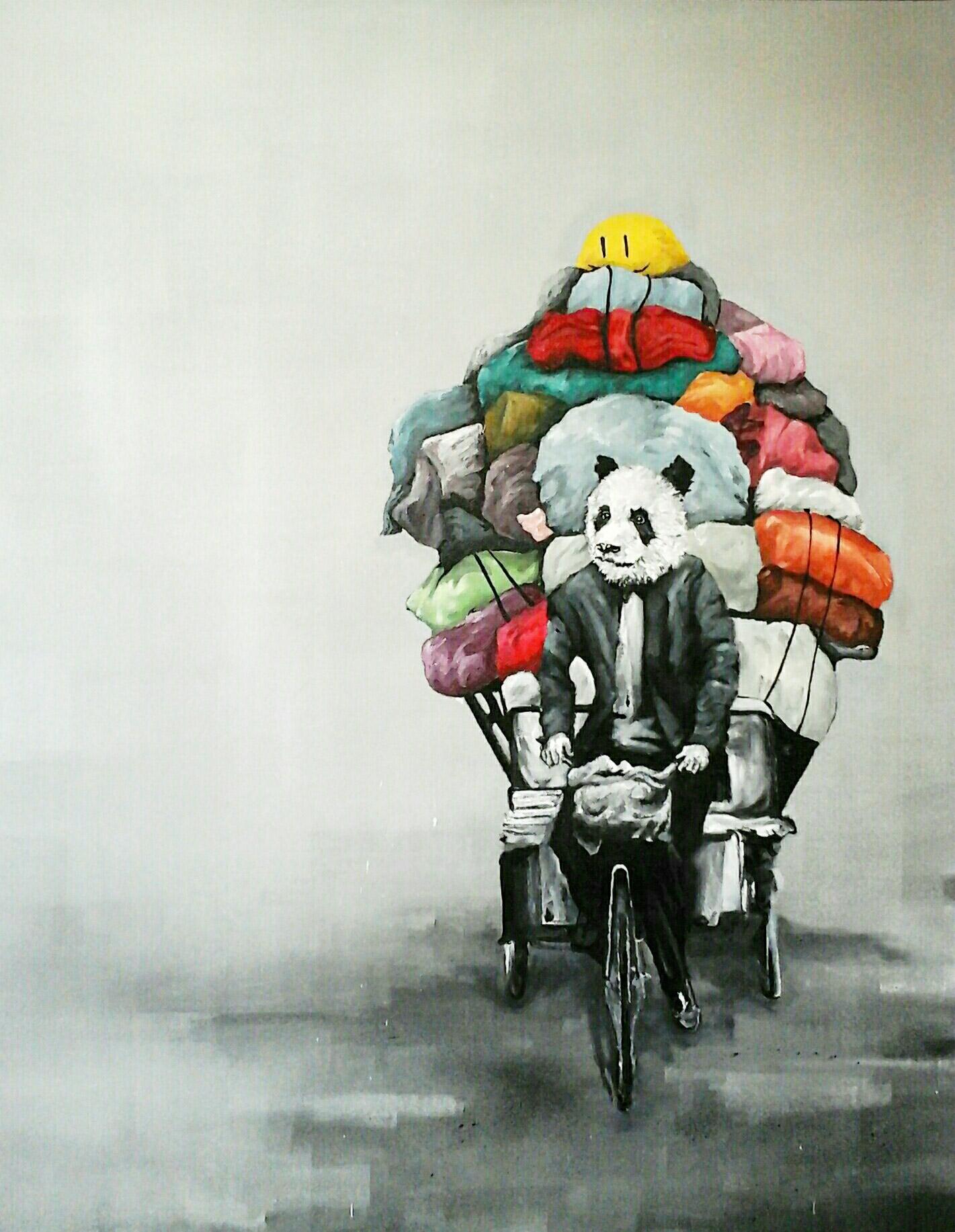 Pandas style - Toile au jardin Orange - Abeil // Street art 974