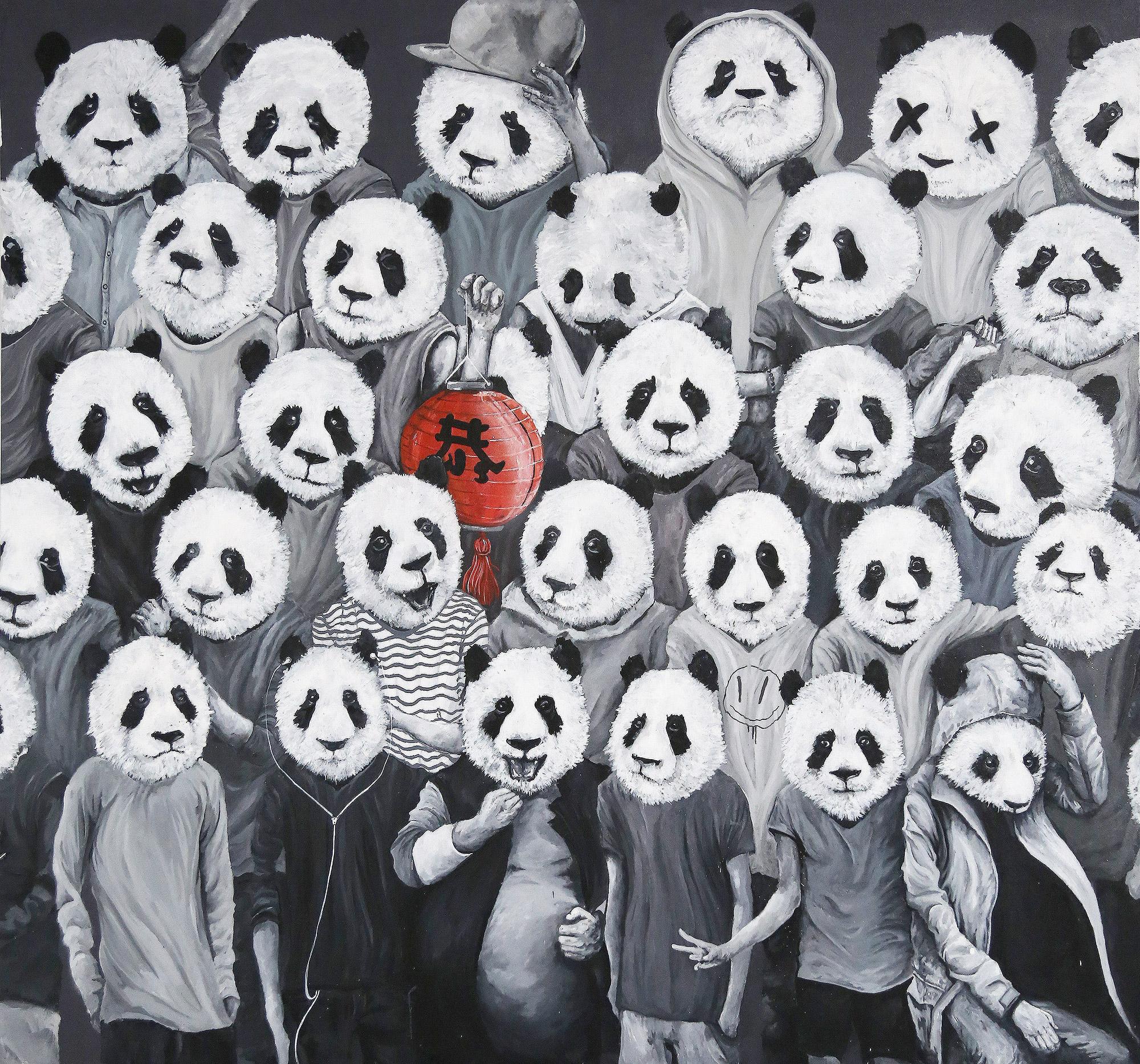 Abeil - Pandas band - Jardin Orange - Street art 974